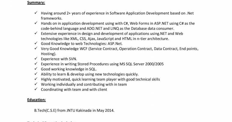 top 10 experience  net developer resume samples