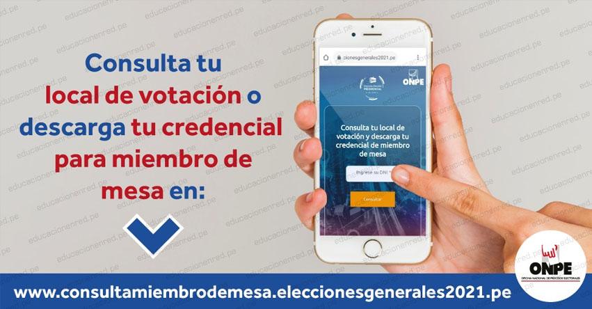 ONPE - DÓNDE VOTAR ESTE DOMINGO 6 DE JUNIO: Ubica con el número de DNI tu Local de Votación y si eres Miembro de Mesa - Elecciones - Segunda Vuelta 2021 - www.onpe.gob.pe