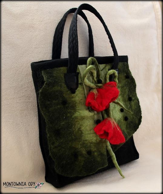 torebka z filcowanymi kwiatami