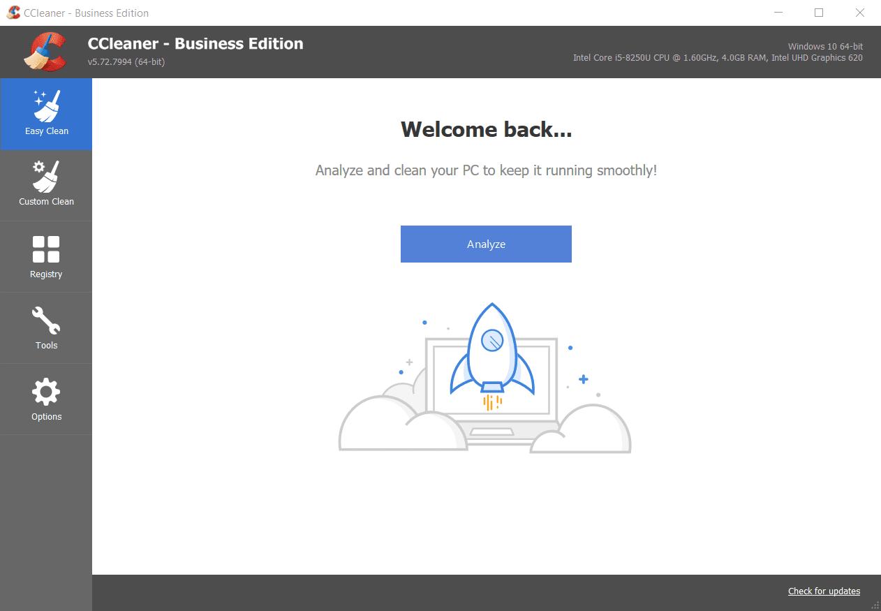 Screenshot of CCleaner Business Main Interface