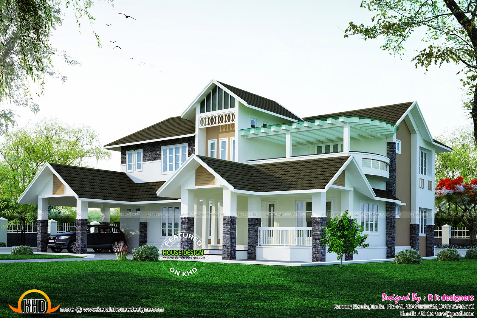 Beautiful mixed roof villa kerala home design and floor for Car porch design in kerala