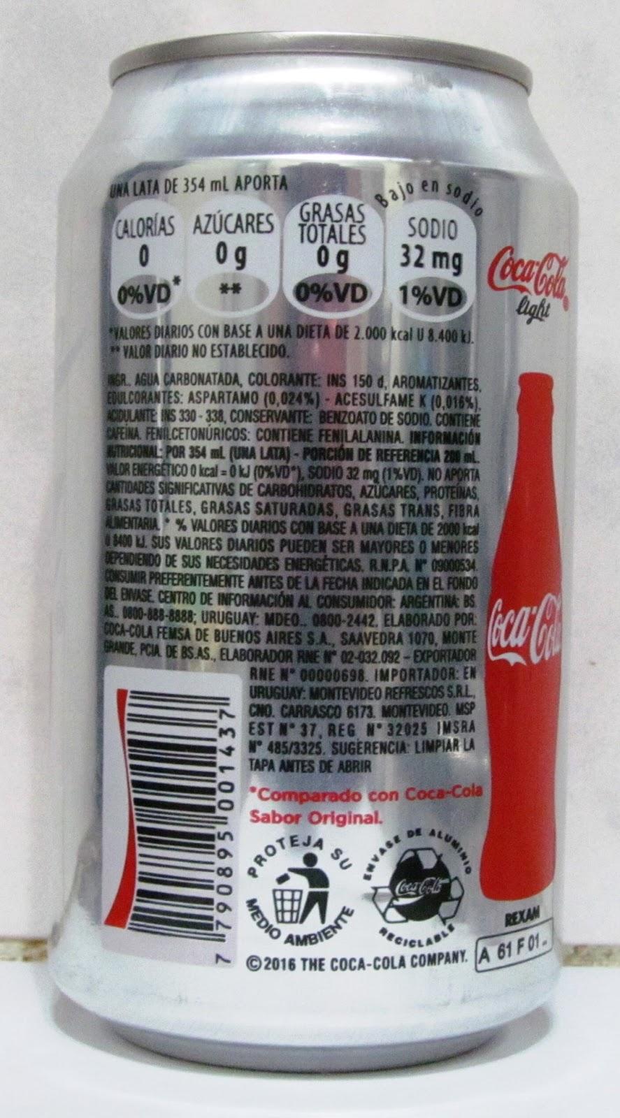 latas y botellas colecciÓn: coca cola light 354ml , origen argentina