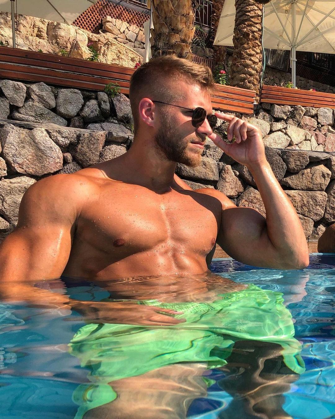 sexy-blond-bearded-men-tomer-yaron-sunglasses-pool