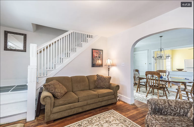 color interior photo of staircase, living room, and dining room 58 Parkview Avenue, Newport, KY Sears Norwood model