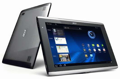 Acer Iconia Tab A501 Specifications - LAUNCH Announced 2011, February  Tablet with no GSM voice communication capabilities DISPLAY Type LCD capacitive touchscreen, 256K colors Size 10.1 inches (~64.3% screen-to-body ratio) Resolution 800 x 1280 pixels (~149 ppi pixel density) Multitouch Yes  - Acer UI BODY Dimensions 260 x 177 x 13.3 mm (10.24 x 6.97 x 0.52 in) Weight 777 g (1.71 lb) SIM Mini-SIM PLATFORM OS Android OS, v3.0 (Honeycomb), upgradable to v3.2 (Honeycomb) CPU Dual-core 1.0 GHz Cortex-A9 Chipset Nvidia Tegra 2 T20 GPU ULP GeForce MEMORY Card slot microSD, up to 32 GB (dedicated slot) Internal 16/32/64 GB, 1 GB RAM CAMERA Primary 5 MP, autofocus, LED flash Secondary 2 MP Features Geo-tagging Video Yes NETWORK Technology GSM / HSPA 2G bands GSM 850 / 900 / 1800 / 1900 3G bands HSDPA 900 / 2100 Speed HSPA 21.1/5.76 Mbps GPRS Yes EDGE Yes COMMS WLAN Wi-Fi 802.11 b/g/n, hotspot GPS Yes, with A-GPS USB microUSB v2.0, USB v2.0 Radio No Bluetooth v2.1, A2DP, EDR FEATURES Sensors Accelerometer, gyro, proximity, compass Messaging Email, Push Email, IM Browser HTML, Adobe Flash Java Yes, via Java MIDP emulator   SOUND Alert types Vibration; MP3, WAV ringtones Loudspeaker Yes, with stereo speakers 3.5mm jack Yes  - Dolby mobile  - Active noise cancellation with dedicated mic BATTERY  Non-removable Li-Po 3260 mAh battery (24.1 Wh) Stand-by Up to 400 h Talk time Up to 8 h Music play  MISC Colors Black  - HDMI port - MP3/WAV/WMA/eAAC+ player - XviD/MP4/H.264 player - Organizer - Document viewer  - Predictive text input