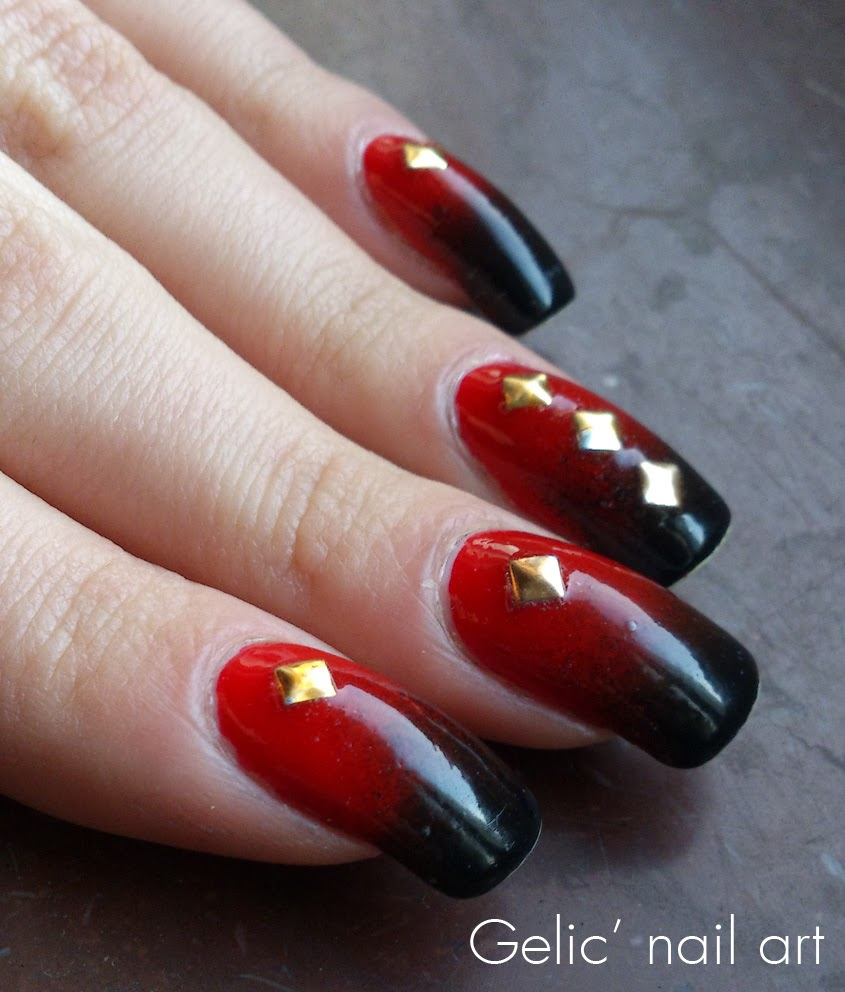 Gelic' Nail Art: Black And Red Gradient With Gold Metal Studs