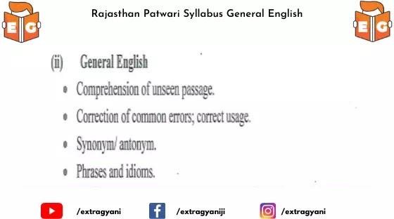 Rajasthan Patwari Syllabus General English