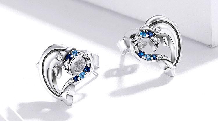 海豚之愛藍鋯石 925純銀耳環