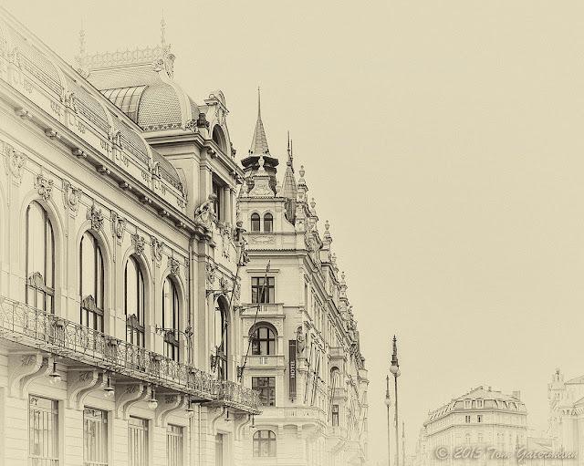 A sideview of Prague's Municpal House (Obecní dům)