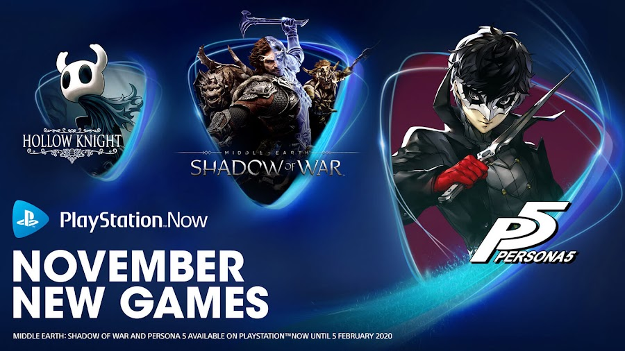 playstation now hollow knight persona 5 middle earth shadow of war ps4 lineup sony