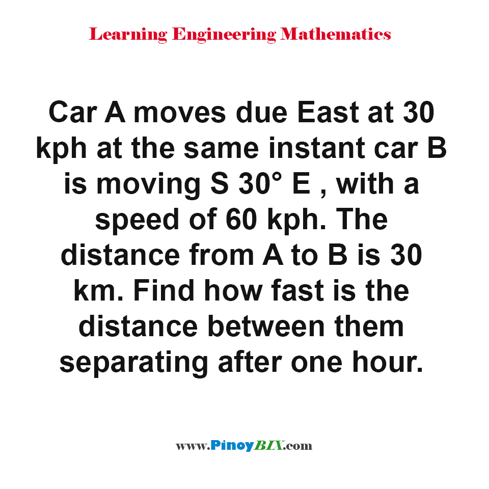How fast is the distance between car A and car B separating after one hour?