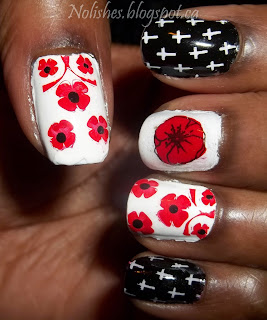 Remembrance Day Nail Stamping Manicure featuring poppies and crosses. Using Red, White, and Black polishes, and stamped with Moyou London and Shany Stamping plates.