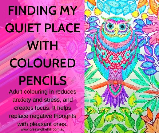 Adult colouring in reduces anxiety and stress, and creates focus. It helps replace negative thoughts with pleasant ones.