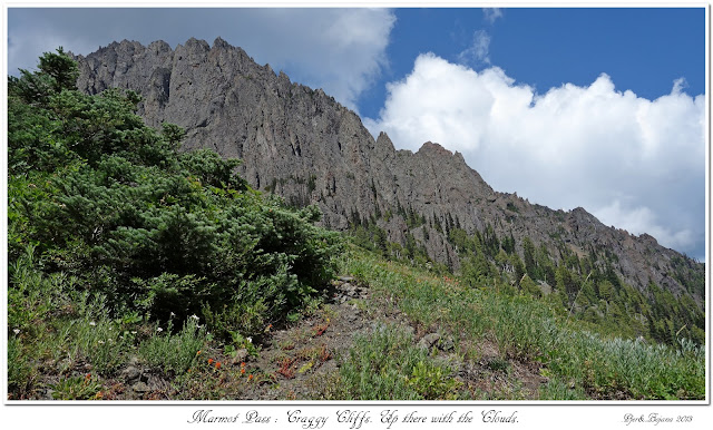 Marmot Pass: Craggy Cliffs. Up there with the Clouds.