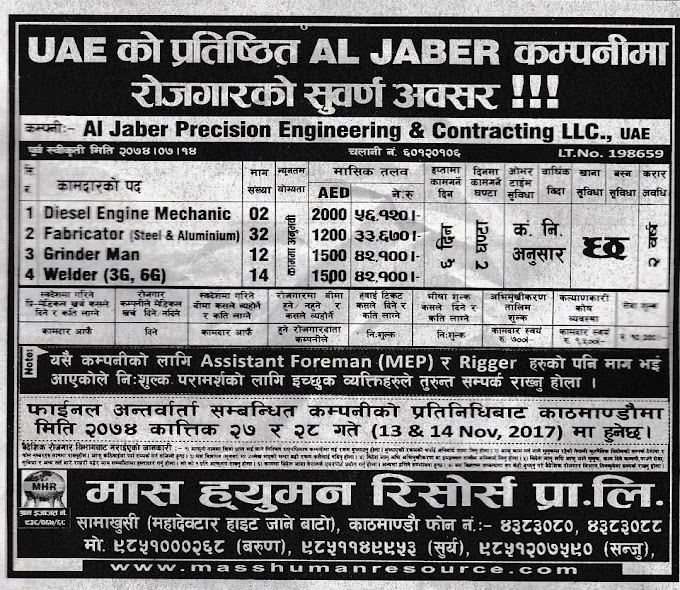 Jobs in UAE for Nepali, Salary Rs 56,120