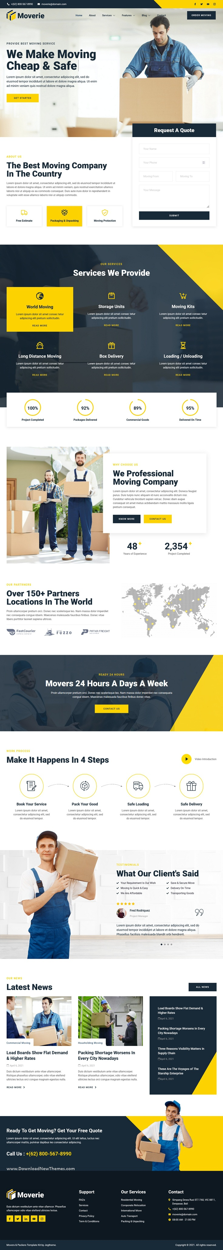 Movers & Packers Service Elementor Template Kit