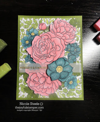 Sympathy card using Breathtaking Bouquet and color combination of Flirty Flamingo, Mossy Meadow, and Pretty Peacock