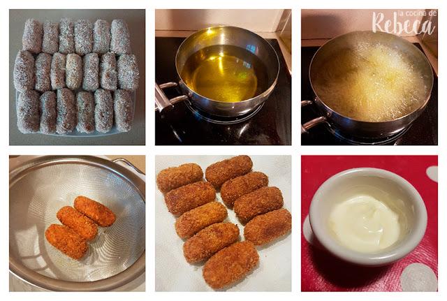Receta de croquetas de pulpo: fritura