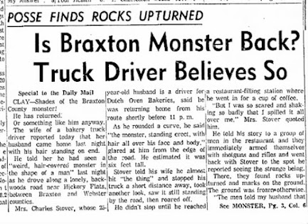 Braxton County's OTHER Monster Seen by Delivery Driver