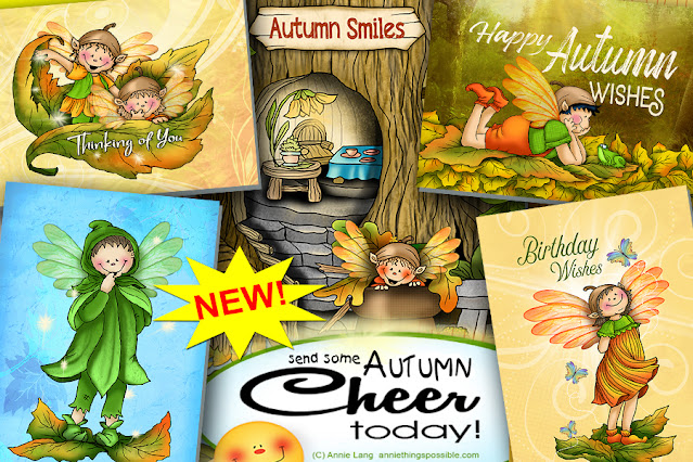 Check out Annie Lang's NEW autumn fairy character greeting card designs at Annie's Greeting Card Shop!