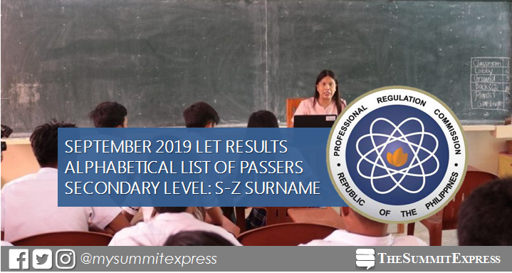S-Z Passers LET Result: September 2019 Secondary