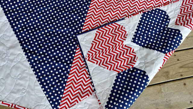 Red, white, and blue heart quilt for USS John S McCain