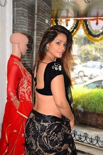 Actress Neetu Chandra Stills in Black Saree at Designer Sandhya Singh's Store Launch  0015.jpg