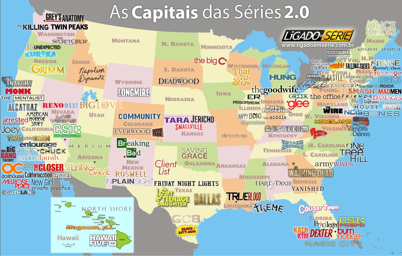 mapa das séries nos EUA