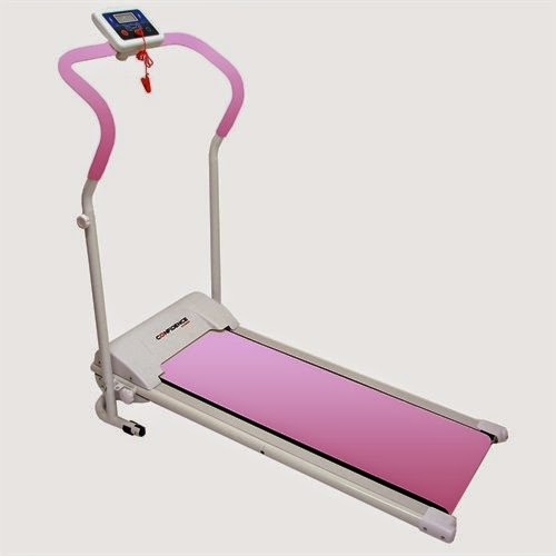 Confidence Power Plus Motorized Pink Fitness Treadmill, review, LED display unit shows workout stats time, speed, distance, calories burned, scan, 600 watt motor, 1-10 km/h, folds for storage