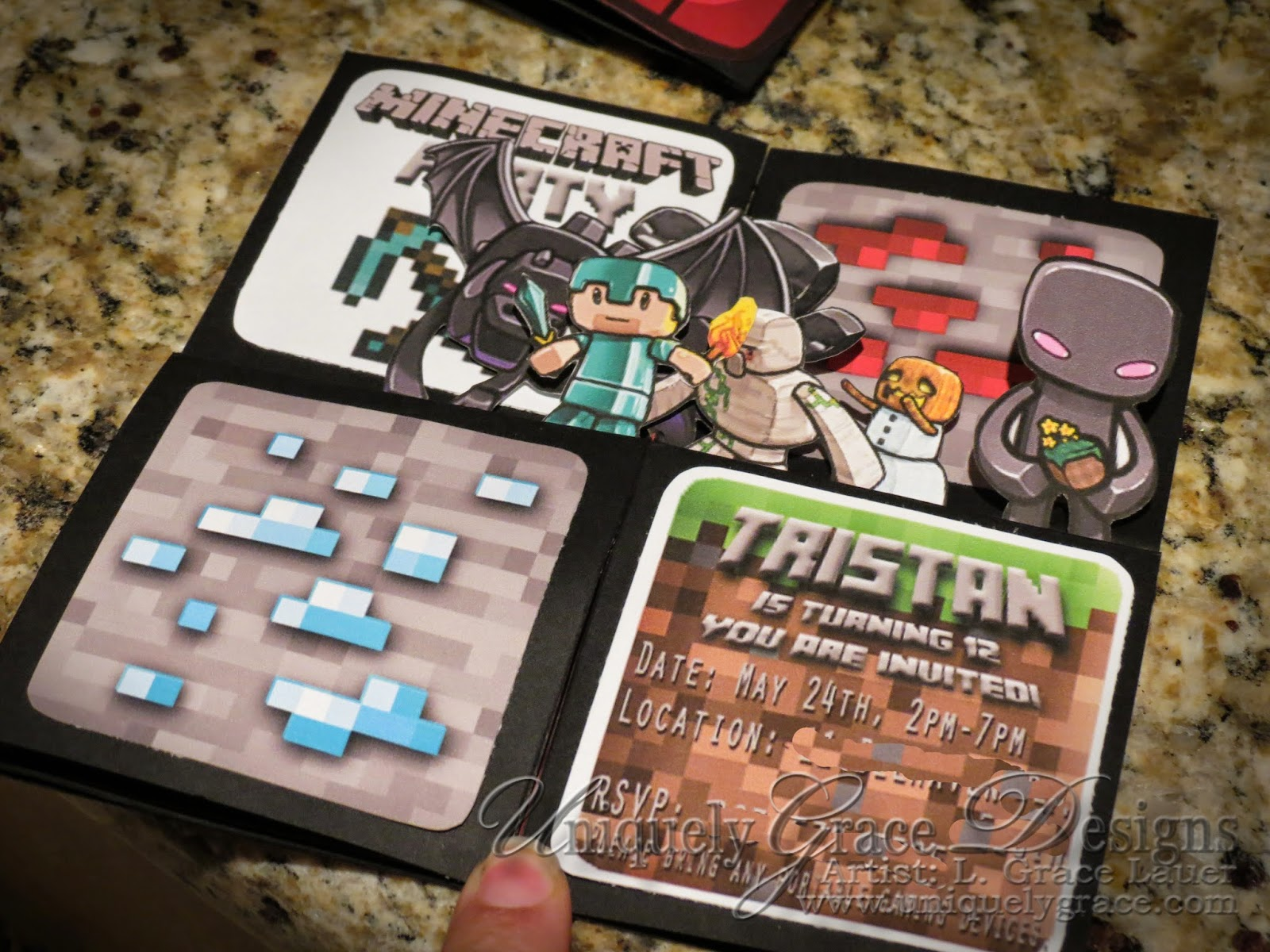 Party Minecraft Birthday Invitation 3d