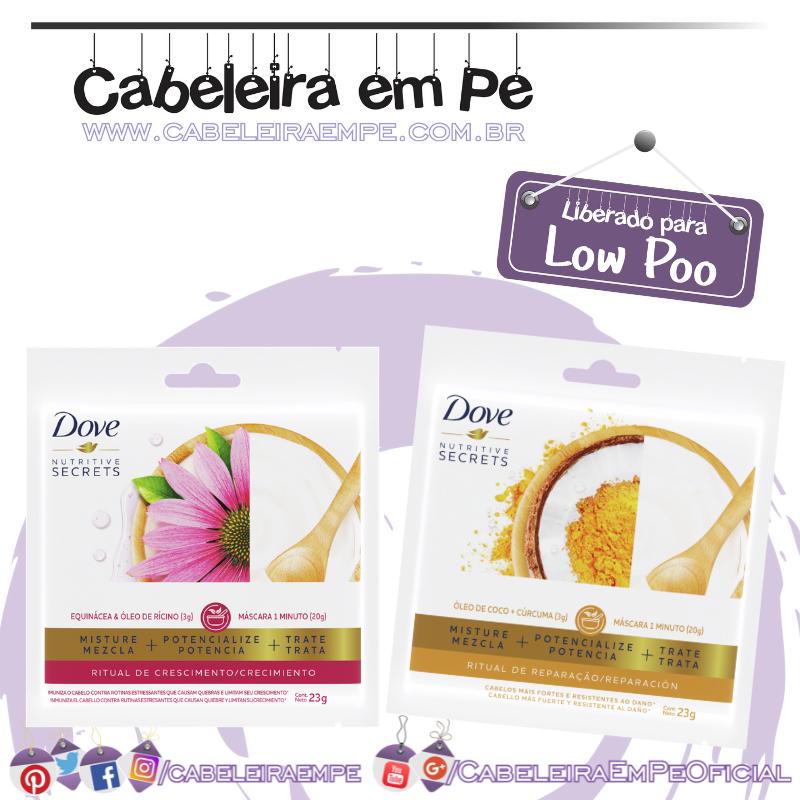 Sachês de Tratamento Monodose Ritual de Crescimento e Ritual de Reparação - Dove (Low Poo)