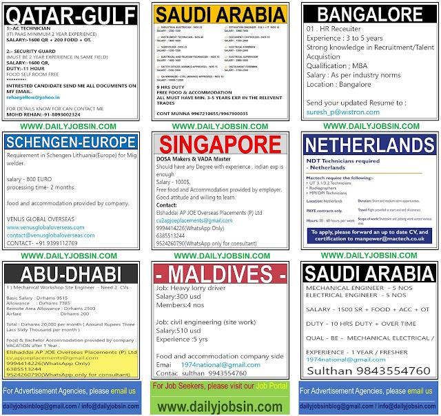 JOBS IN SCHENGEN-EUROPE, SINGAPORE, NETHERLANDS & GULF