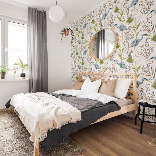 Stiker Wallpaper Dinding Kamar Tidur Motif Bunga