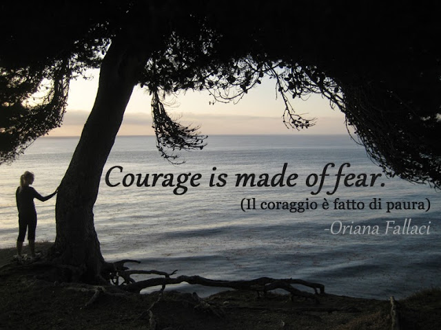 """Courage is made of fear."" (Il coraggio è fatto di paura) - Oriana Fallaci - Alex with our meditation tree image by lb as seen on linenandlavender.net - http://www.linenandlavender.net/2013/10/courage-and-fear.html"