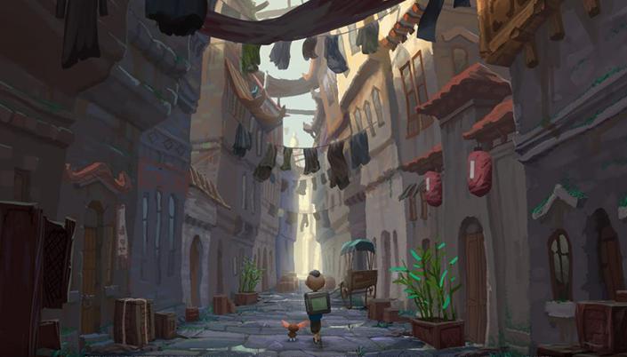 Uma arte conceitual de uma rua bem apertada com casas e roupas estendidas em varais entre as casas e no centro da imagem tem uma criança com uma mochila grande e uma criatura pequenininha do lado dela com grandes orelhas.