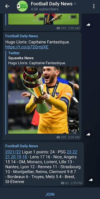 Football daily news channels on Telegram