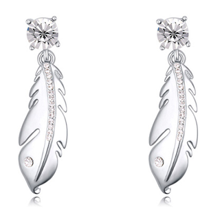 Florence Scovel Jewelry Silver Feather Earrings