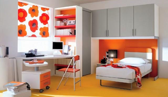 Cuarto juvenil en gris y naranja