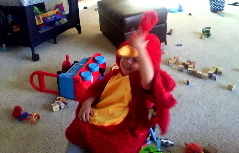 Goodmorning Red Bird. Picture of our baby in his red bird costume.