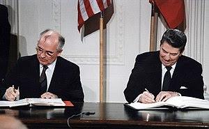 Reagan and Gorbachev signing INF treaty