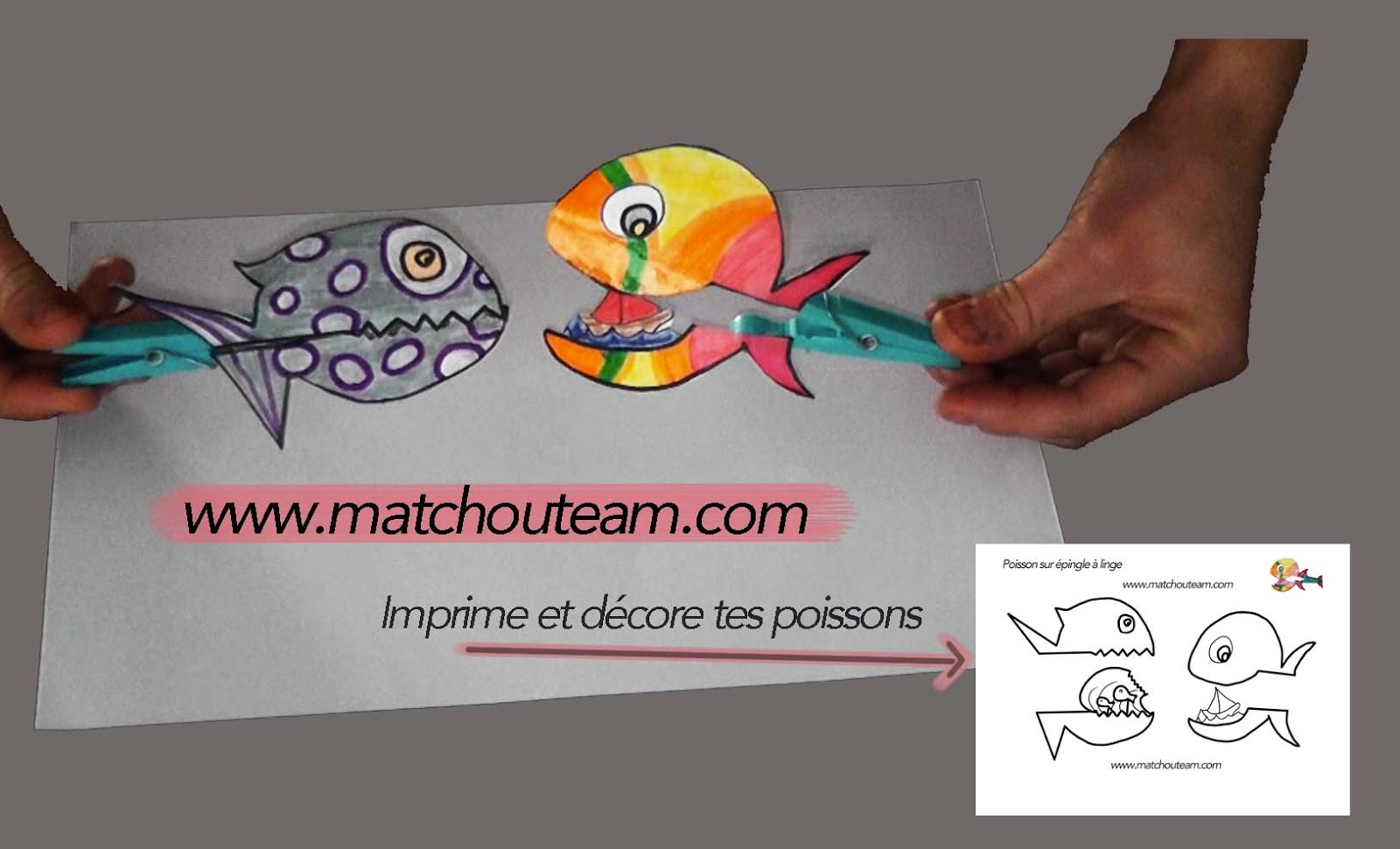ma tchou team poisson sur pince linge. Black Bedroom Furniture Sets. Home Design Ideas