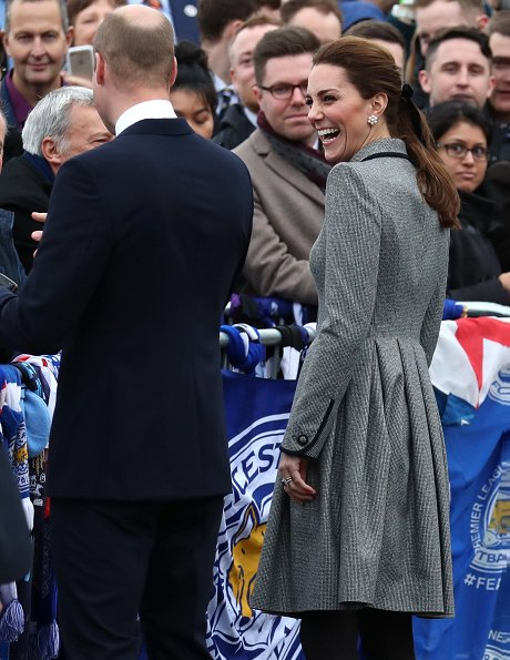Kate Middleton wore Catherine Walker coat dress, Tod's suede pumps, Cassandra Goad pearl earrings and carried Aspinal of London mayfair bag