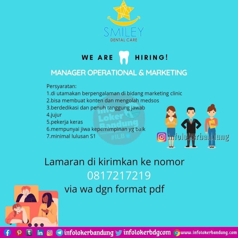 Lowongan Kerja Manager Operational & Marketing Smiley Dental Care Bandung Februari 2021