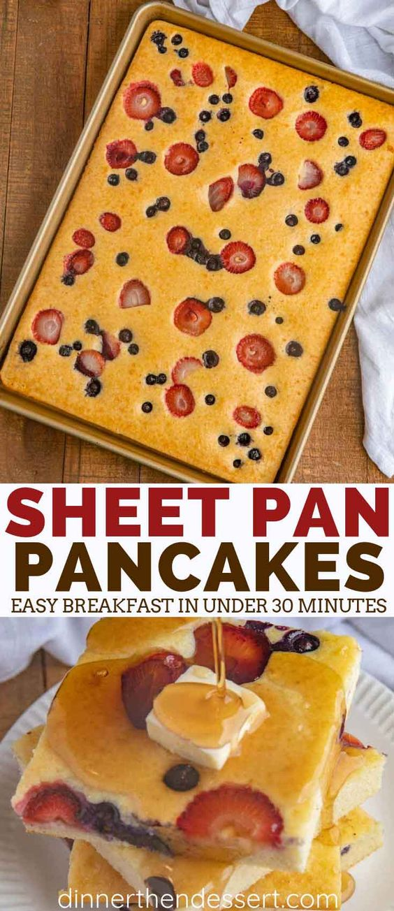 Sheet Pan Pancakes with mixed berries and homemade pancake batter let you make pancakes for a crowd without standing over the oven!