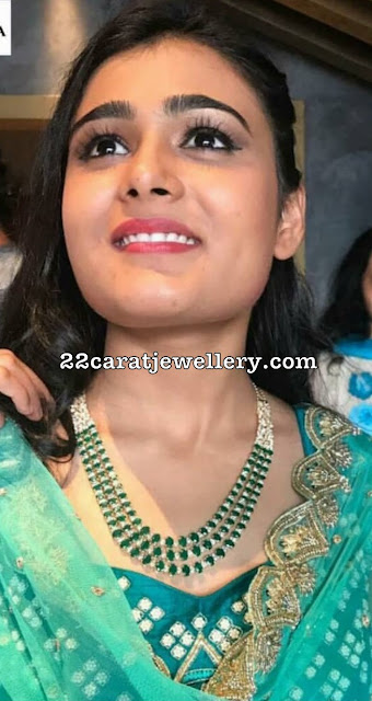 Shalini Pandey 3 Layer Emerald Necklace