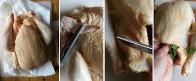 Zubereitung Knuspriges Brathähnchen (mit Butterschmalz) und Ofengemüse