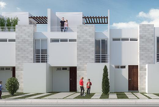 fachada moderna de casa altair residencial con azotea roof garden - Fachadas Modernas De Casas