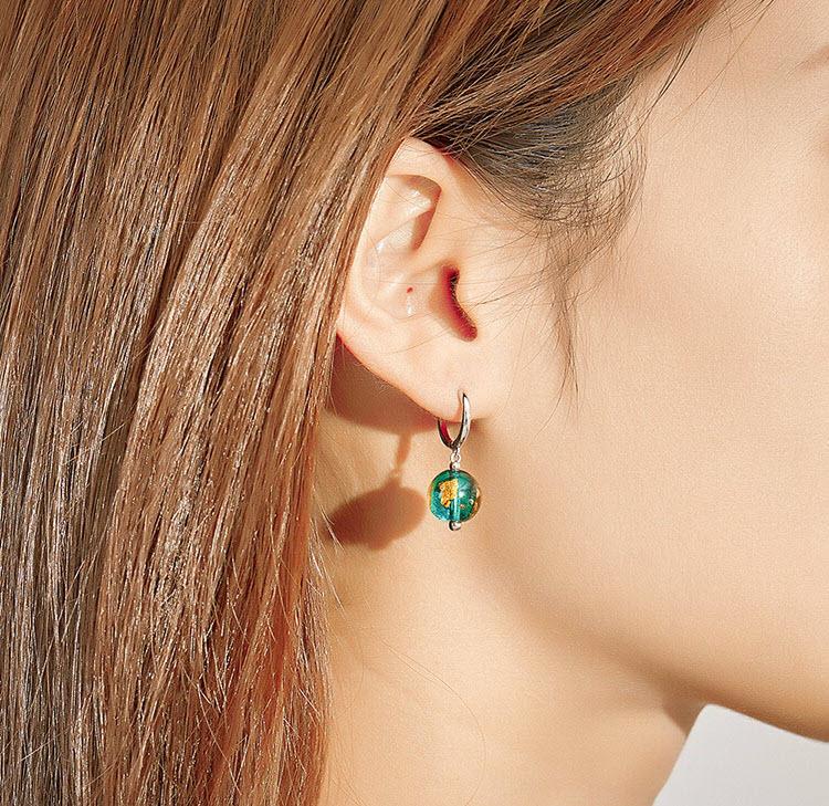 綠琉璃 925純銀耳環