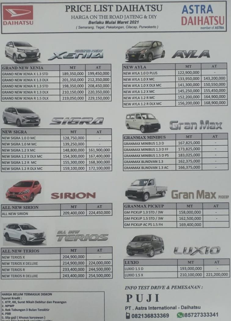 harga kredit mobil daihatsu semarang 2021 ppnbm brosur