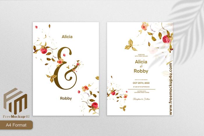 Minimalist Wedding Invitation Template With Foliage White Background